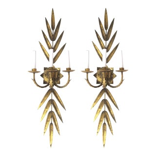 Large Pair of Italian 1960s Gilt-Tole Three-Arm Foliate Electrified Wall Sconces