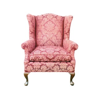 Hollywood Regency Damask Brocade Wingback Chair