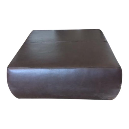 Room & Board Brown Leather Ottoman - Image 1 of 4
