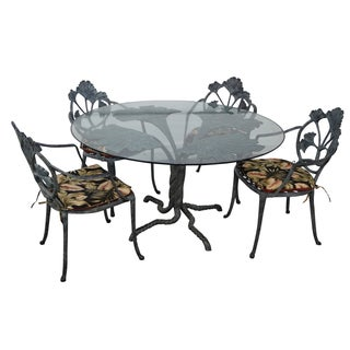 Art Nouveau Style Cast Aluminum Patio Dining Set
