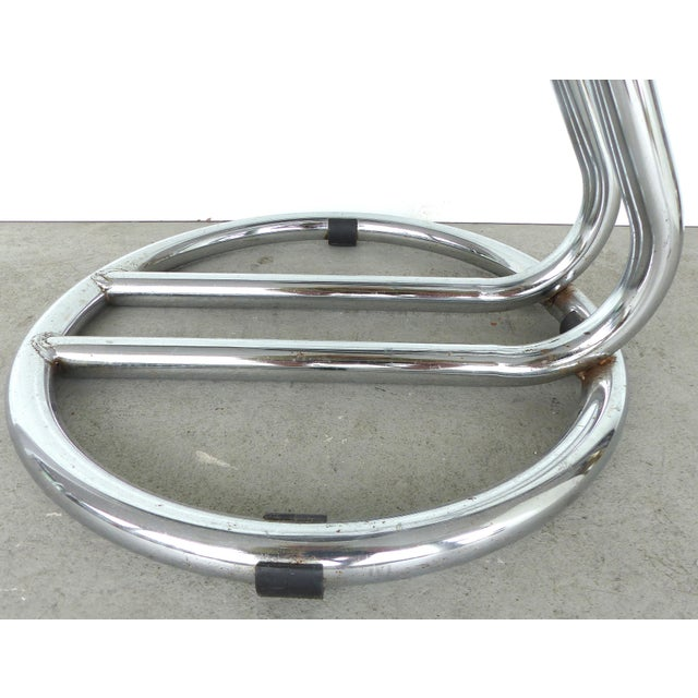 Italian Mid-Century Modern Chrome Bar Stools -- A Pair - Image 6 of 9