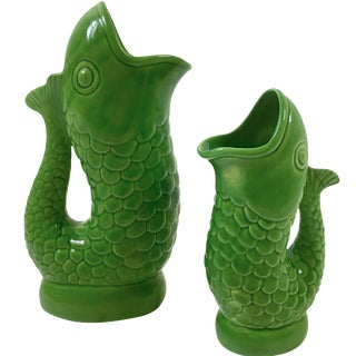 Vintage Italian Ceramic Fish Pitchers - A Pair