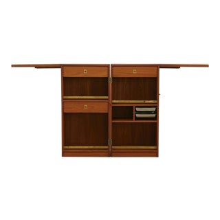 Danish 1960s Metamorphic Teak and Brass Bar by Dyrlund 'Captain's Bar'