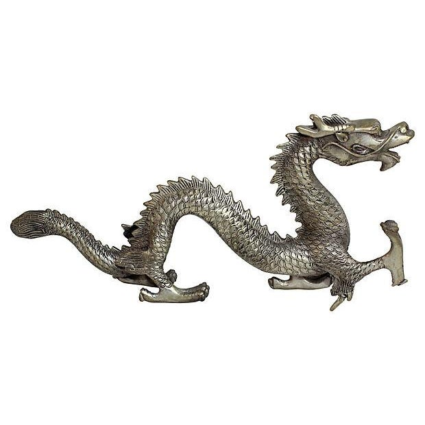 Image of Silver Mid Century Metal Dragon Statue