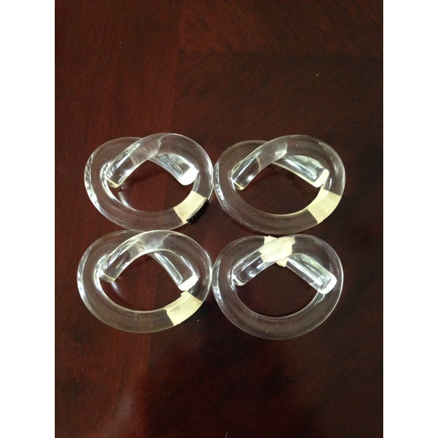 Image of Vintage Lucite Knot Napkin Rings - Set of 4