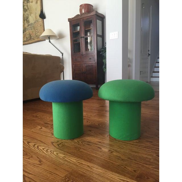 Memphis Style Mushroom Ottomans Stools - a Pair - Image 3 of 9