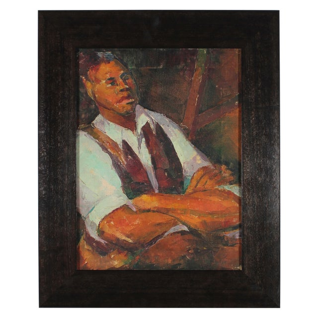 Image of 1940s Oil on Canvas Portrait