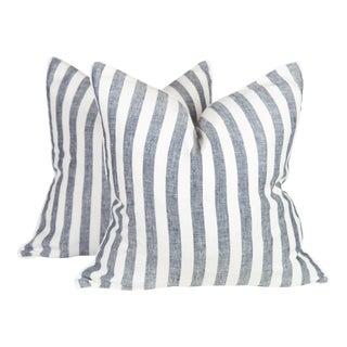Navy & Ivory Linen Stripe Harlow Pillows - A Pair