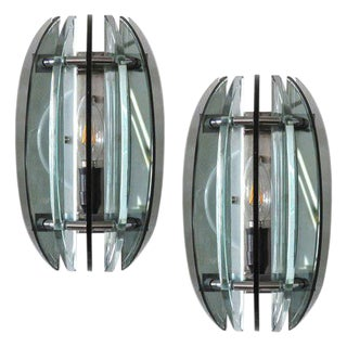 Pair of Italian Glass Wall Lights by Veca