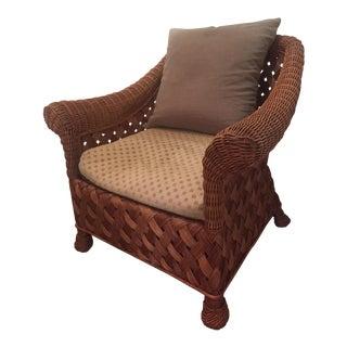 Asian Rattan Chair & Down Pillows