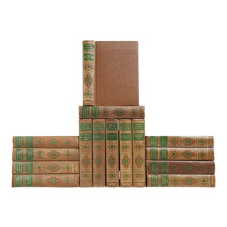 Gilded Brown & Green Classic Books- Set of 15