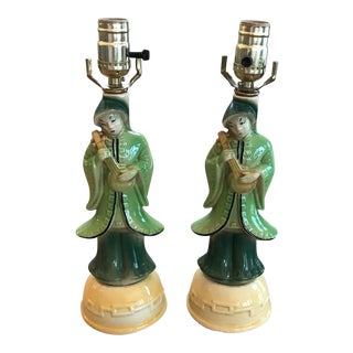 Chinese Figurine Ceramic Table Lamps - A Pair