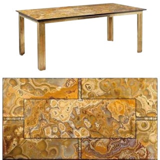 A Brass Modernist Dining Table with an Agate & Marble Top