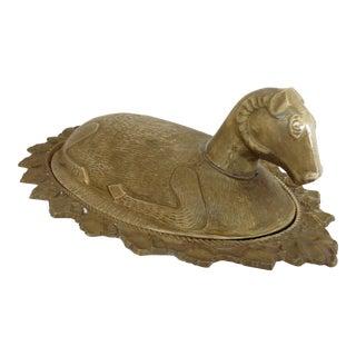 Mid-Century Brass Ram Vessel