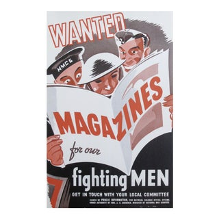 1940s Original WWII Poster, Wanted: Magazines