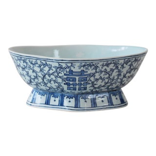 Asian Celadon & Blue Porcelain Footed Bowl