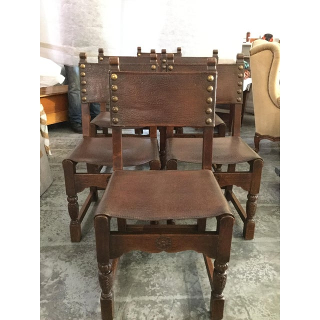 Image of Italian Leather Chairs - Set of 6