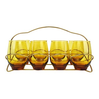 Vintage Amber Libbey Glasses in Folding Caddy - Set of 8