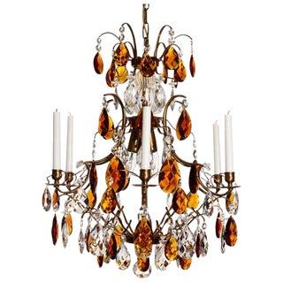 Baroque Chandelier, 6 Cognac Almond Amber