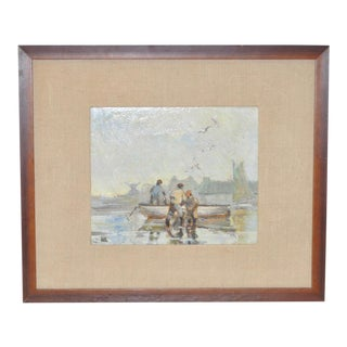 "1950s Vintage ""Fisherman"" Oil Painting by James March Phillips"