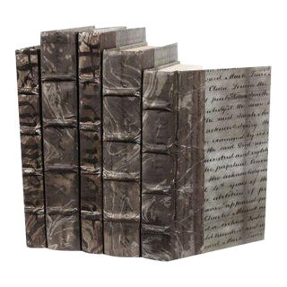 Antique Script Gunmetal Books - Set of 5