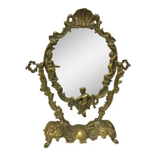 Vintage 1930's Brass Table Top Mirror