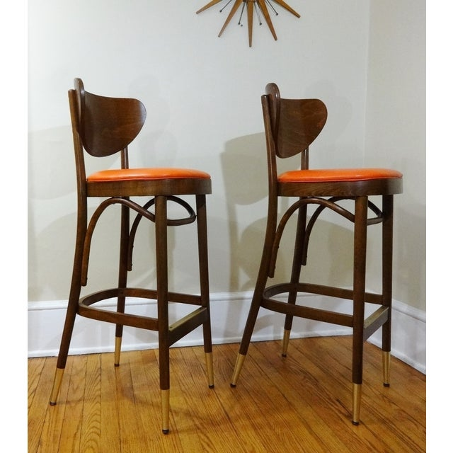 Mid-Century Bentwood Bar Stools - A Pair - Image 4 of 6