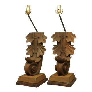 Heavy Iron Architectural Corbel Lamps - Pair