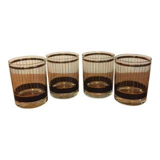 Culver Hollywood Regency 22k Gold Rocks Glasses- Set of 4