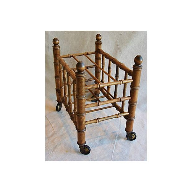 1920s Carved Wooden Bamboo-Style Magazine Rack Holder - Image 3 of 11