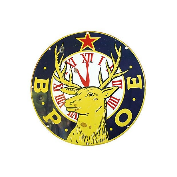 """Image of Large 30"""" Enameled Porcelain Elks Club Sign"""