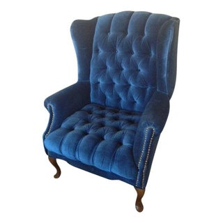 Vintage Tufted Velvet Wingback Chair & Ottoman