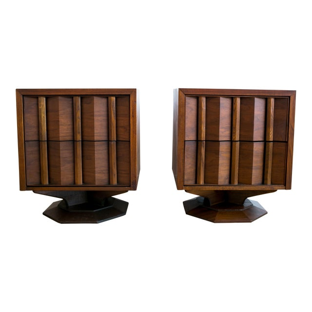 Mid Century Brutalist Paul Evans Styled Nightstands - a Pair - Image 1 of 9