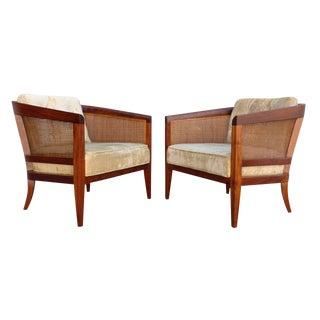 Walnut & Cane Barrel Club Chairs- A Pair