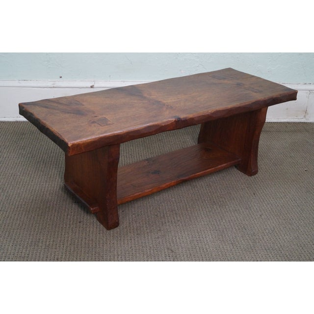 Rustic Slab Wood Coffee Table - Image 3 of 10