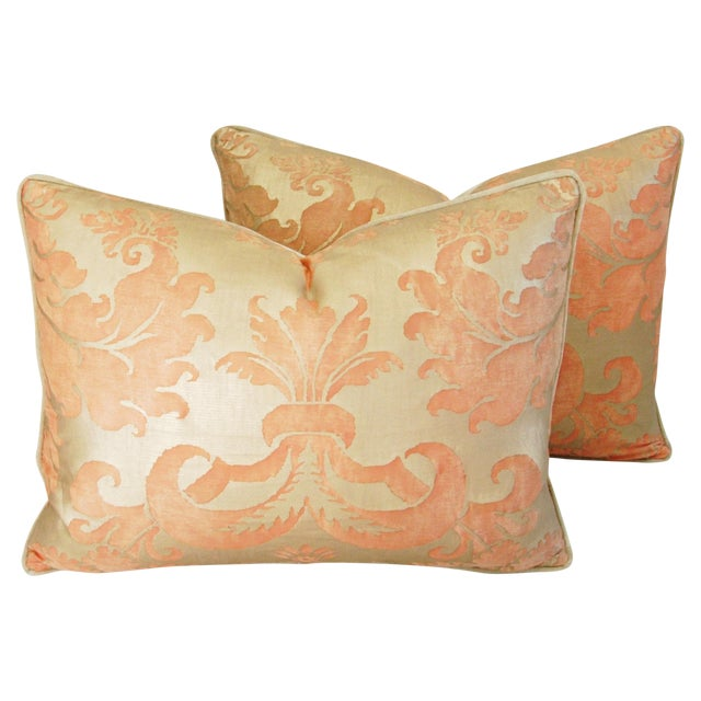 Italian Fortuny Glicine Gold Pillows - Pair - Image 1 of 11