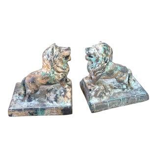 Mottled Cast Iron Vintage Lion Bookends - A Pair