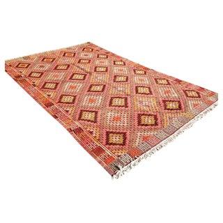 Handwoven Diamond Vintage Turkish Kilim Rug