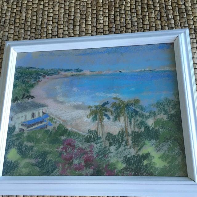 Original Oil Pastel Carribean Coastal Seascape Framed Art - Image 8 of 10