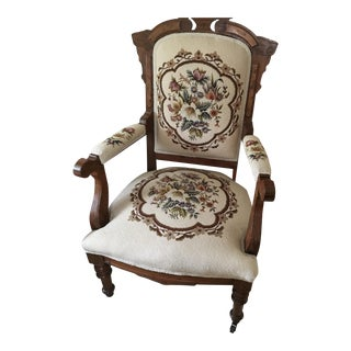 Eastlake Arm Chair With Ivory Floral Needlepont