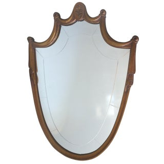 Carved Wood Shield Mirror
