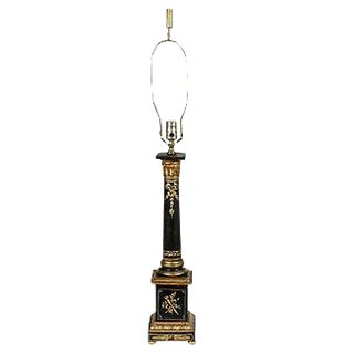 1960s Black & Gilt Italian Florentine Lamp