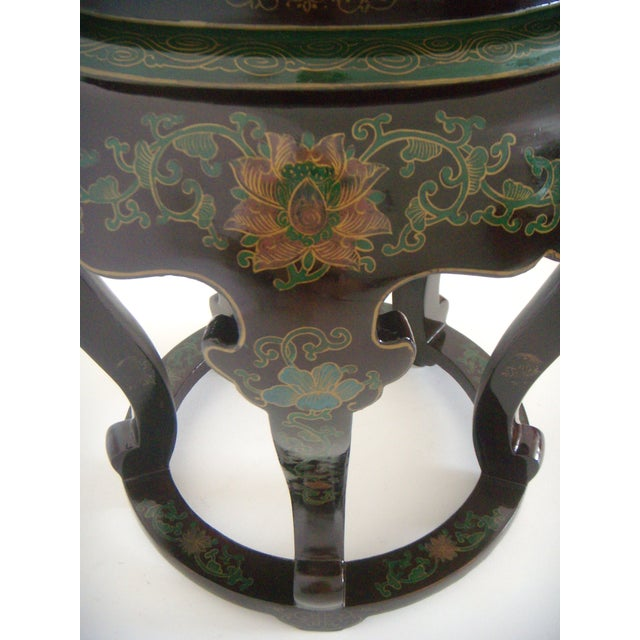 Antique Chinese Cloisonné & Black Lacquer Drum/Side Table - Image 5 of 6