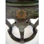 Image of Antique Chinese Cloisonné & Black Lacquer Drum/Side Table