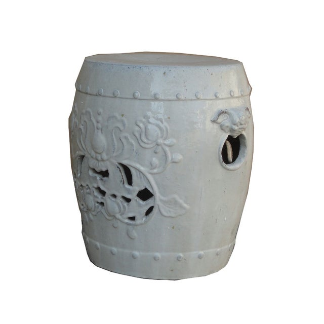 Chinese Clay White Lotus Garden Stool/Ottoman - Image 3 of 7