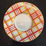 Image of Small Plaid Porcelain Plates - Set of 6