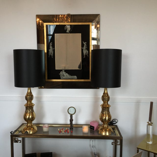 Manner of Fornasetti Black and Antiqued Mirror - Image 7 of 7