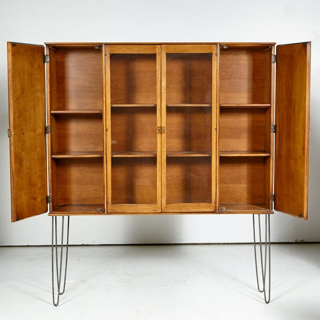 Image of 60s Drexel Caned Front Hutch on Hairpin Legs
