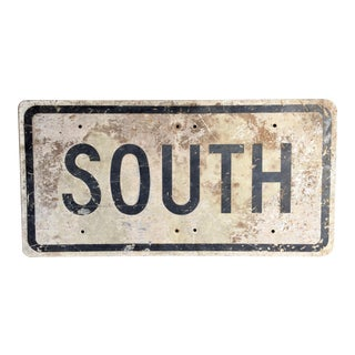 Vintage 'South' Metal Road Sign
