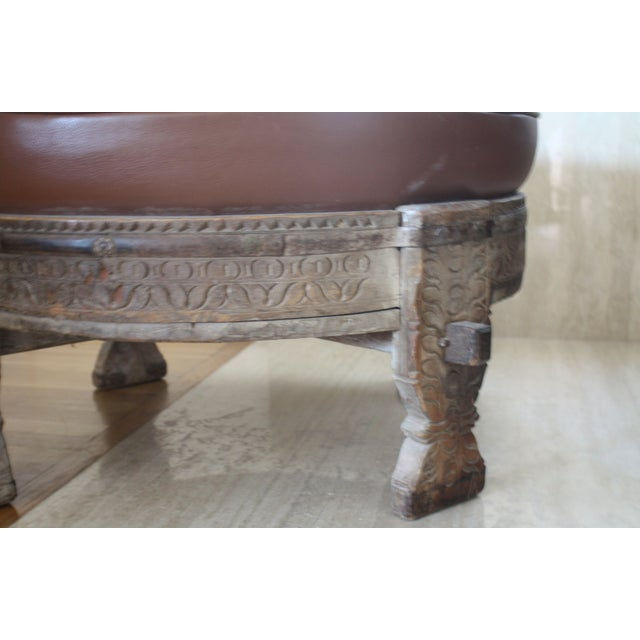 Image of Moroccan Carved Tribal Wood Ottoman